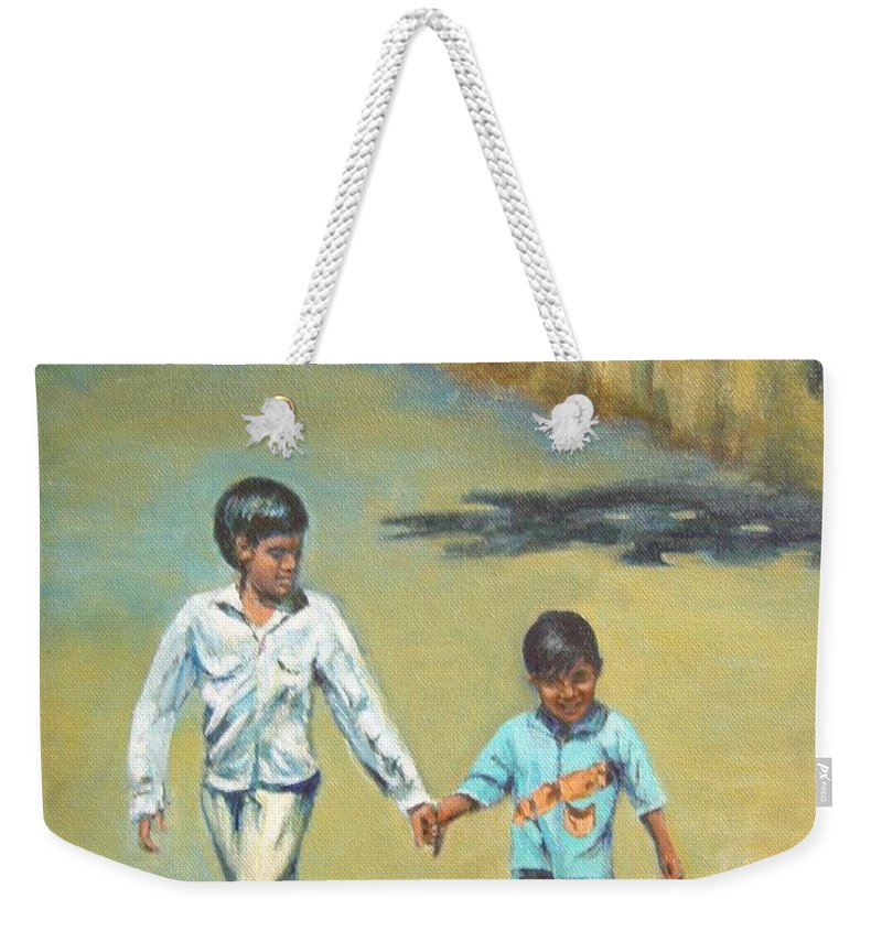 Lead Weekender Tote Bag featuring the painting Lead Kindly Brother by Usha Shantharam