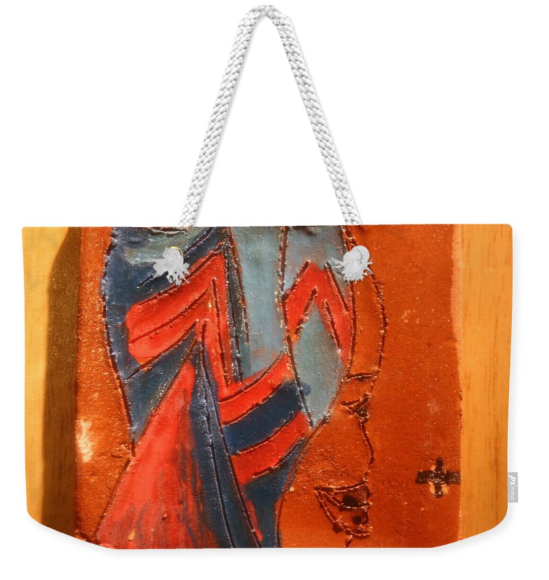 Jesus Weekender Tote Bag featuring the ceramic art Lead Me Home - Tile by Gloria Ssali
