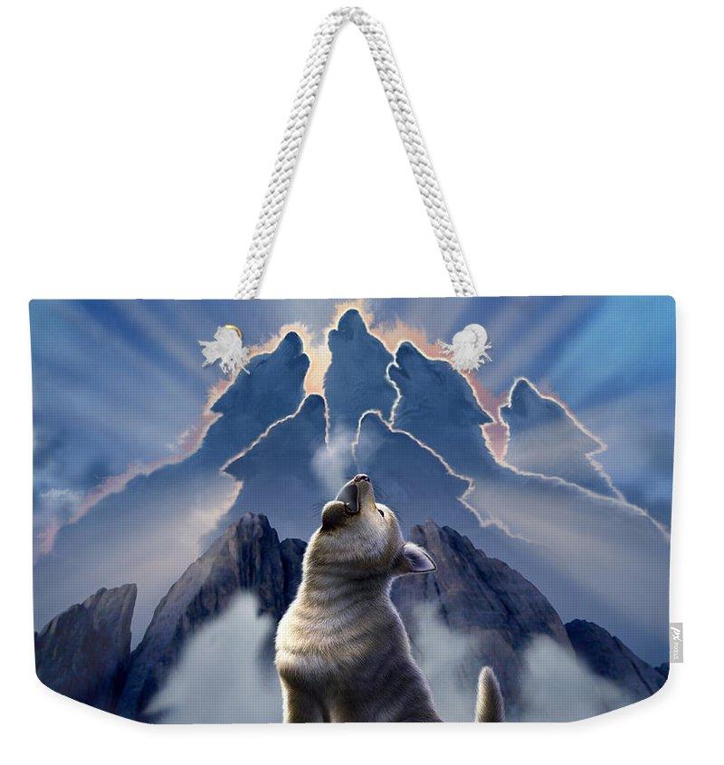 Wolf Weekender Tote Bag featuring the digital art Leader of the Pack by Jerry LoFaro