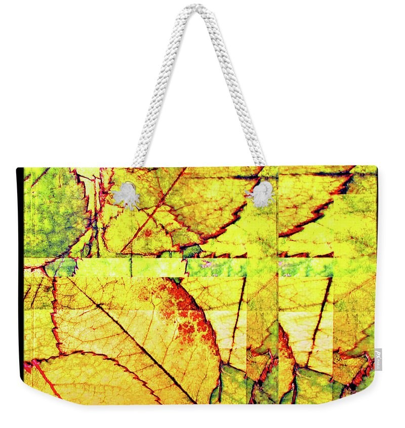 Autumn Weekender Tote Bag featuring the digital art Leaf Abstract by Joan Minchak