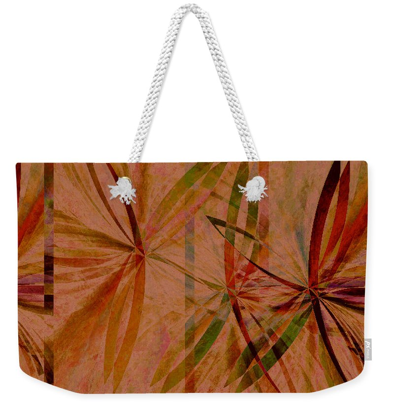 Abstract Weekender Tote Bag featuring the digital art Leaf Dance by Ruth Palmer