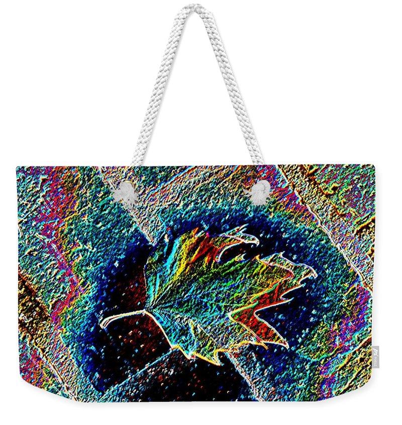 Leaf Weekender Tote Bag featuring the photograph Leaf On Bricks 3 by Tim Allen