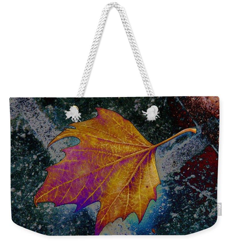 Leaf Weekender Tote Bag featuring the photograph Leaf On Bricks 4 by Tim Allen