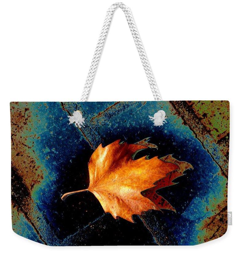 Leaf Weekender Tote Bag featuring the photograph Leaf On Bricks 5 by Tim Allen