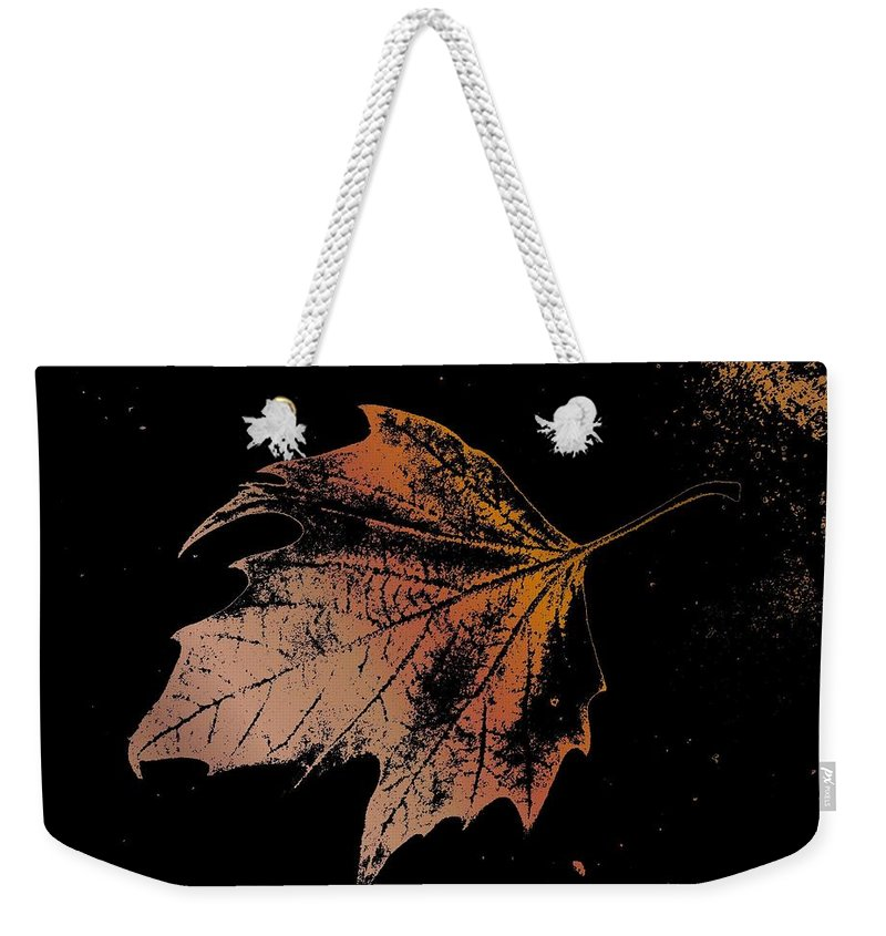 Digital Photo Manipulation Weekender Tote Bag featuring the digital art Leaf On Bricks by Tim Allen