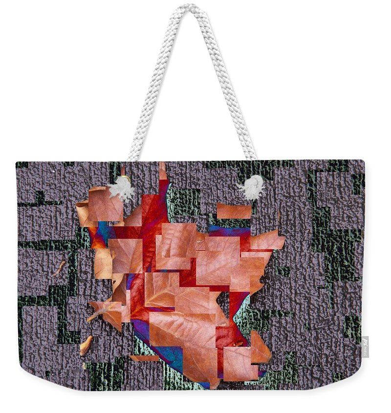 Leaf Weekender Tote Bag featuring the photograph Leaf On Stone 2 by Tim Allen