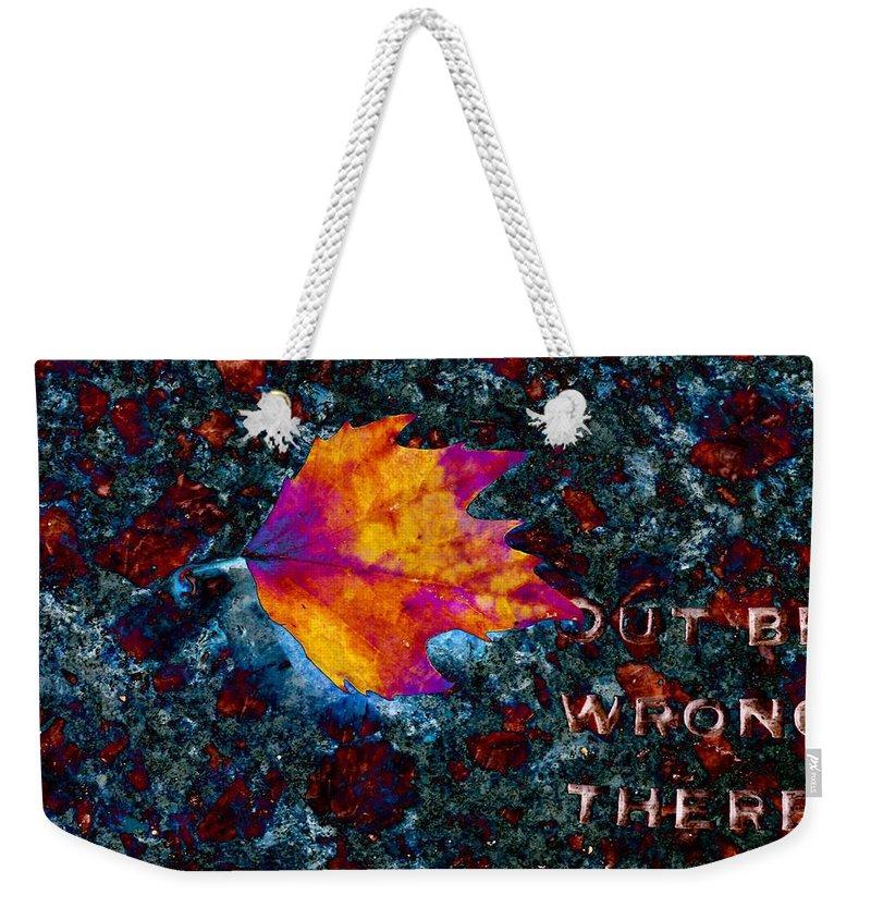 Leaf Weekender Tote Bag featuring the digital art Leaf On Stone by Tim Allen