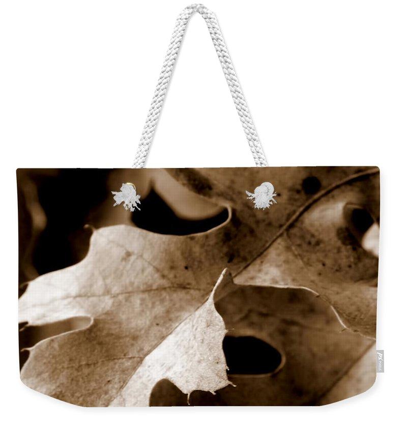 Macro Weekender Tote Bag featuring the photograph Leaf Study In Sepia IIi by Lauren Radke