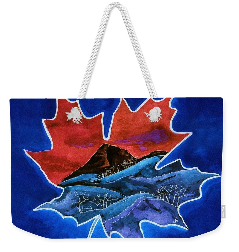 Watercolor Weekender Tote Bag featuring the painting Leafy Vision by Brenda Owen