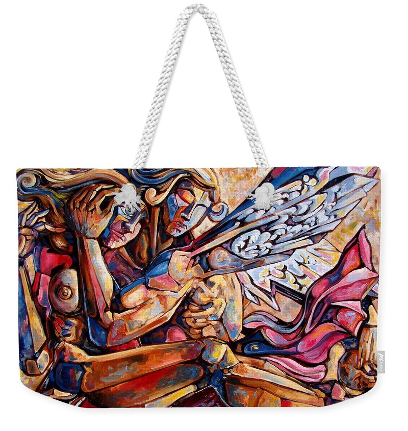 Surrealism Weekender Tote Bag featuring the painting Lean On Me by Darwin Leon