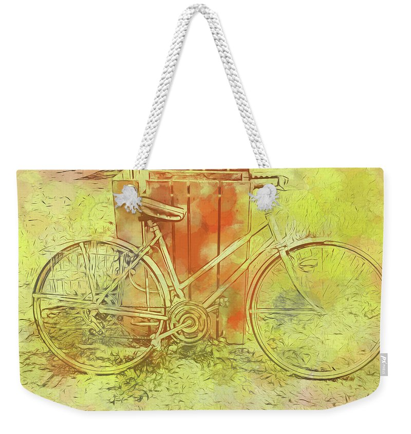 Weekender Tote Bag featuring the digital art Leaning In Bicycle by Cathy Anderson