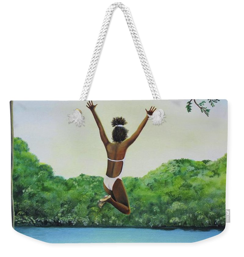 Summer Vacation Weekender Tote Bag featuring the painting Leap Of Faith by Kris Crollard