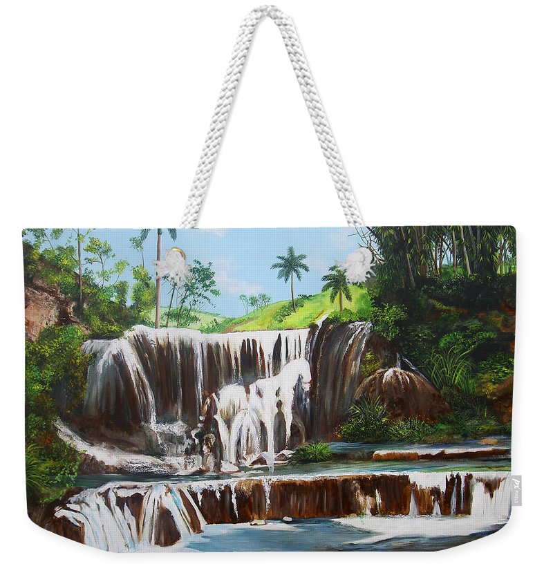 Cuban Waterfall Weekender Tote Bag featuring the painting Leaping Waterfall by Dominica Alcantara