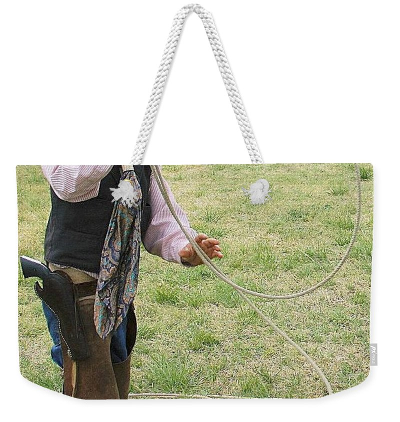 Cowboy Weekender Tote Bag featuring the photograph Learning The Ropes by Cindy New