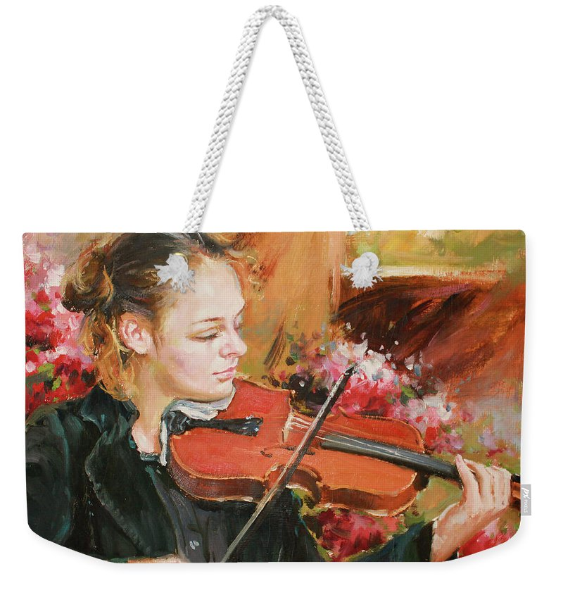 Violin Weekender Tote Bag featuring the painting Learning The Violin by Conor McGuire