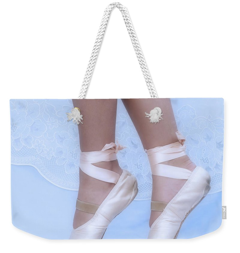 Active Weekender Tote Bag featuring the photograph Learning To Walk In Dance World With Pink Pointe Shoes by Pedro Cardona Llambias