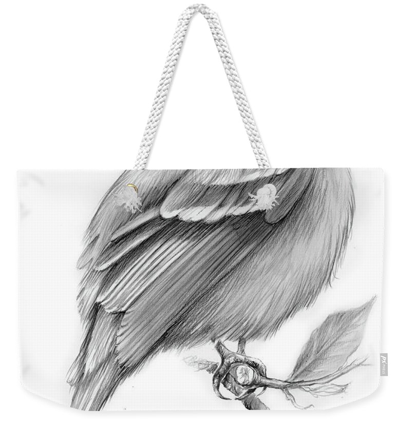 Least Flycatcher Weekender Tote Bag featuring the drawing Least Flycatcher by Greg Joens