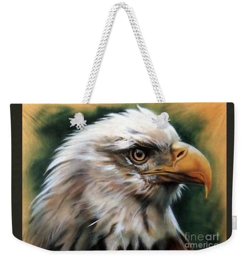 Southwest Art Weekender Tote Bag featuring the painting Leather Eagle by J W Baker