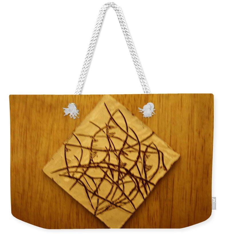 Jesus Weekender Tote Bag featuring the ceramic art Leaves - Tile by Gloria Ssali