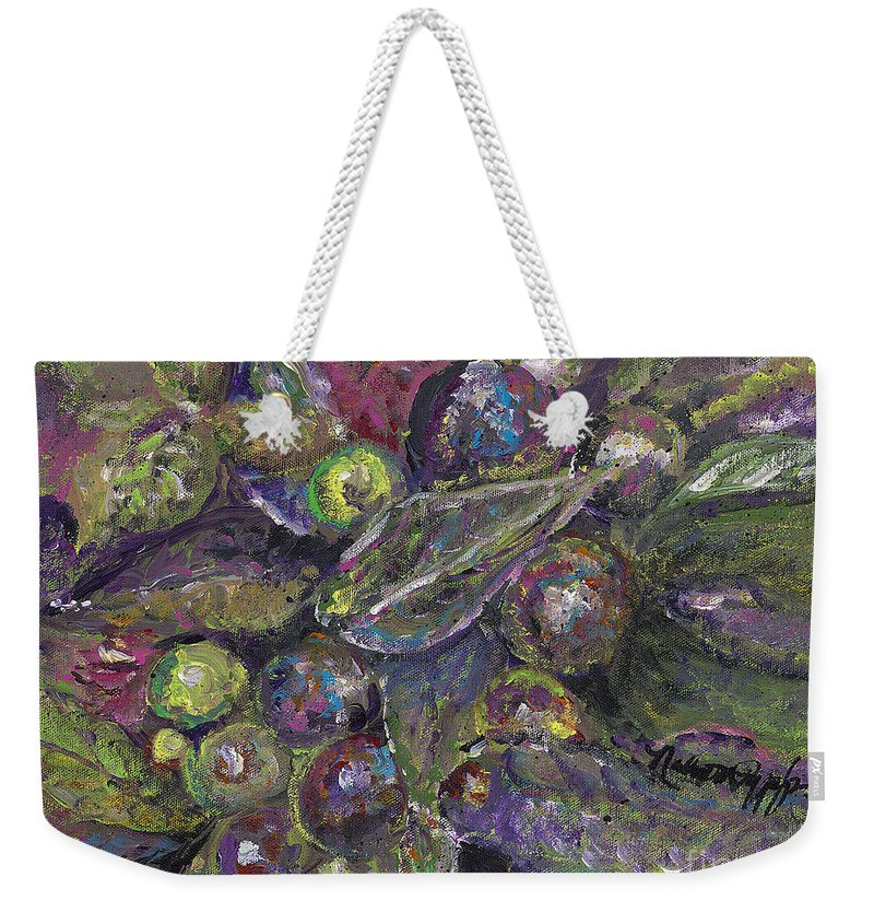 Berries Weekender Tote Bag featuring the painting Leaves and Berries by Nadine Rippelmeyer