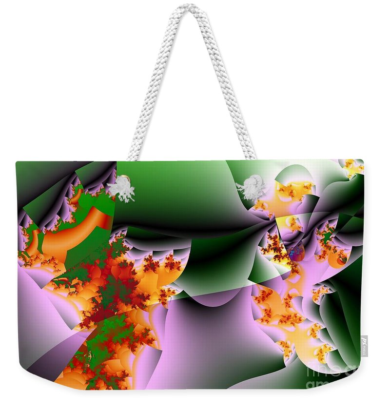 Flower Art Weekender Tote Bag featuring the digital art Leaves And Carpels by Ron Bissett