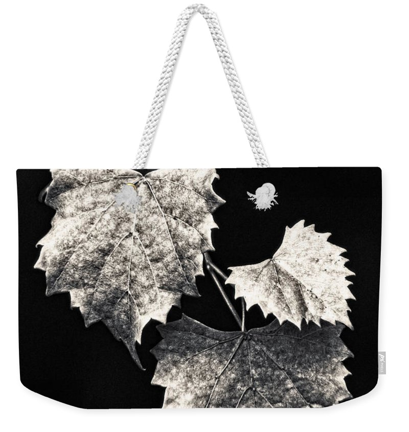 B&w Weekender Tote Bag featuring the photograph Leaves by Christopher Holmes