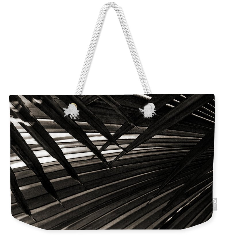 Palm Weekender Tote Bag featuring the photograph Leaves Of Palm Black And White by Marilyn Hunt