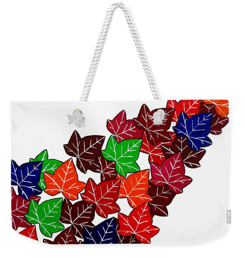 Leaf Weekender Tote Bag featuring the painting Leaves by Oliver Johnston
