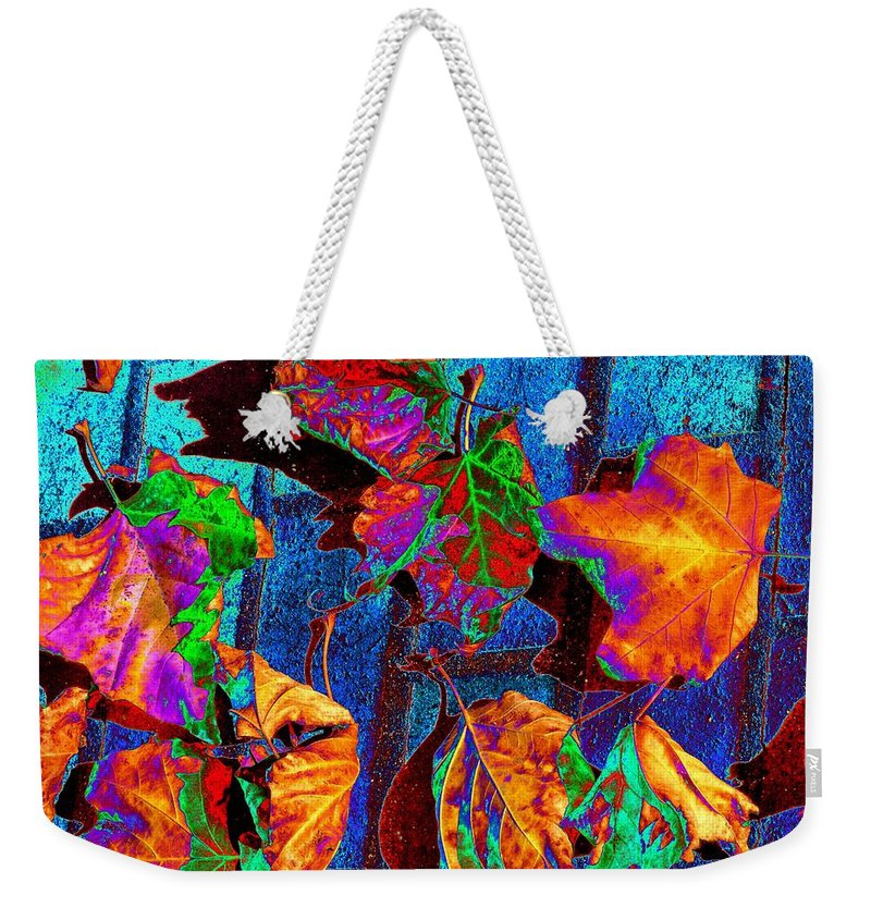 Leaves Weekender Tote Bag featuring the photograph Leaves On Bricks by Tim Allen