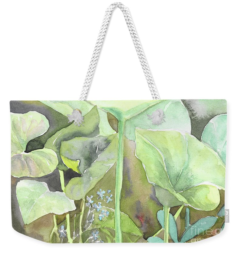 Leaves Weekender Tote Bag featuring the painting Leaves by Yana Sadykova