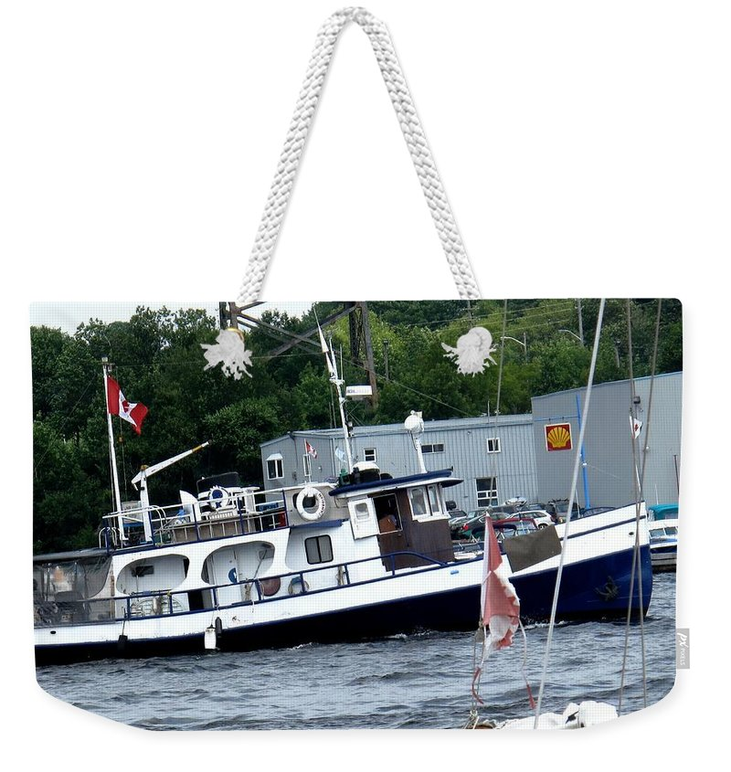 Boat Weekender Tote Bag featuring the photograph Leaving Harbor by Ian MacDonald