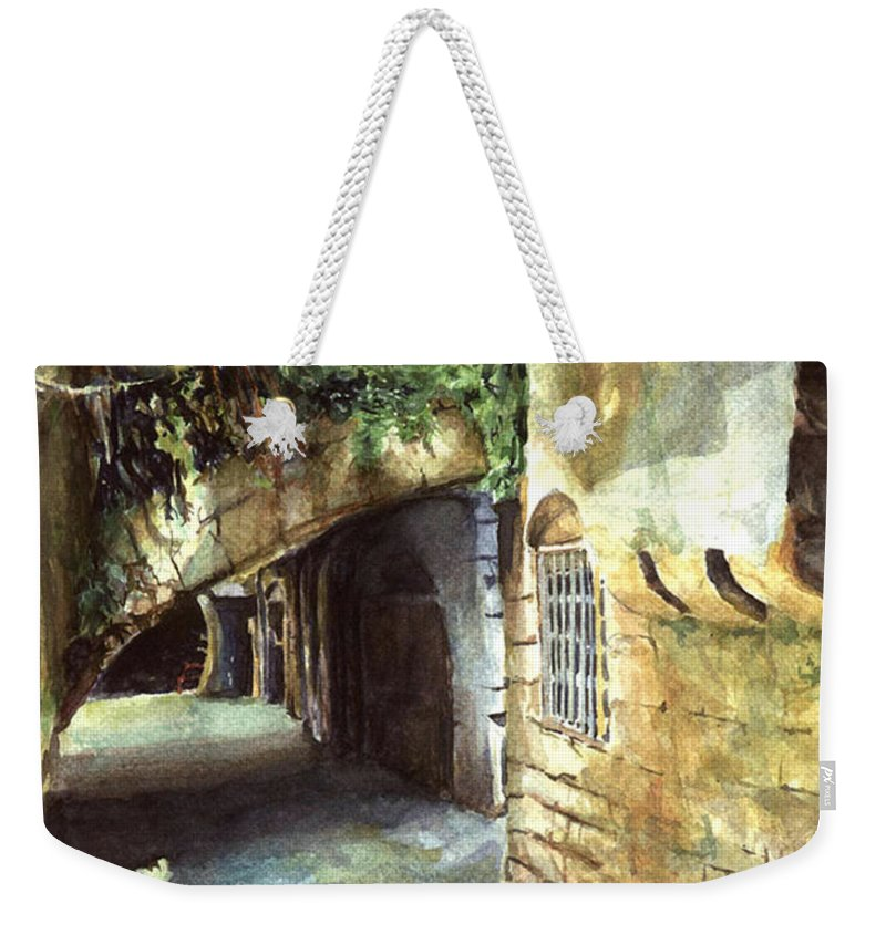 Zaher Bizri Weekender Tote Bag featuring the painting Lebanese Watercolors Jewsish Zone Saida by Zaher Bizri