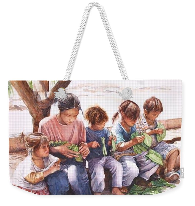 Zaher Bizri Weekender Tote Bag featuring the painting Lebanon Art - Tobacco - Zaher Bizri by Zaher Bizri