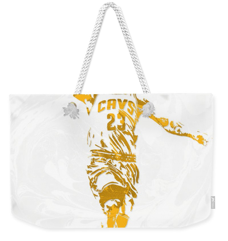 Lebron James Weekender Tote Bag featuring the mixed media Lebron James Cleveland Cavaliers Pixel Art 12 by Joe Hamilton