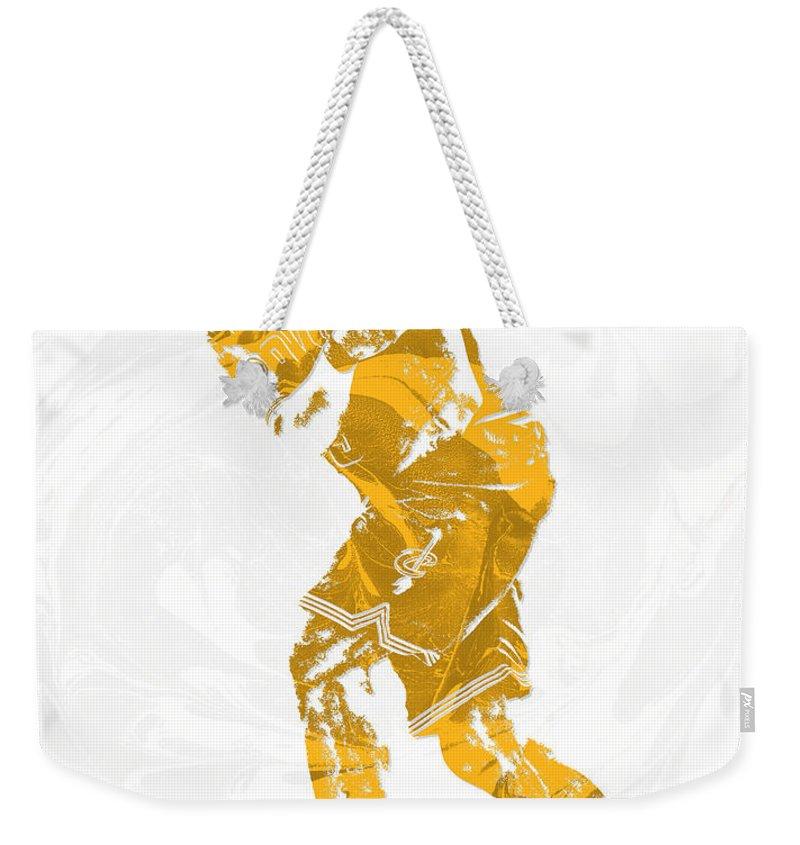 Lebron James Weekender Tote Bag featuring the mixed media Lebron James Cleveland Cavaliers Pixel Art 13 by Joe Hamilton