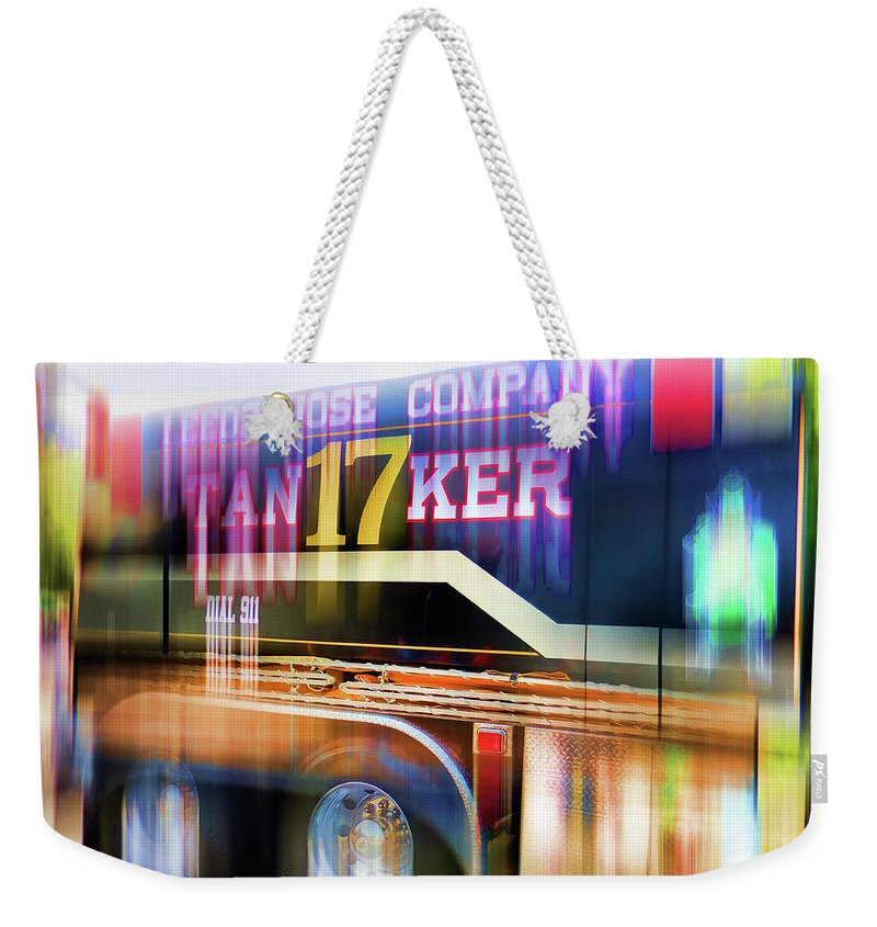 Leeds Hose Company Weekender Tote Bag featuring the painting Leeds Hose Company 3 by Jeelan Clark