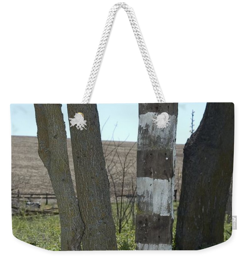 Fencepost Weekender Tote Bag featuring the photograph Left by Sara Stevenson