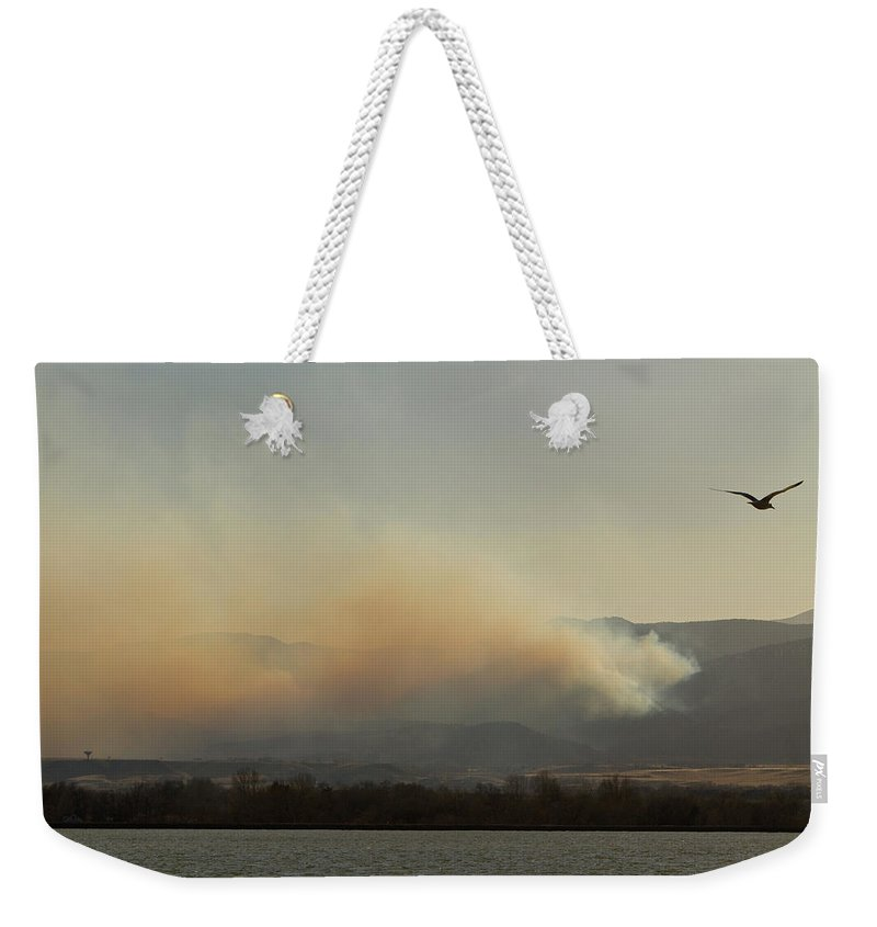 Lefthand Canyon Wildfire Weekender Tote Bag featuring the photograph Lefthand Canyon Wildfire Across The Lake View by James BO Insogna
