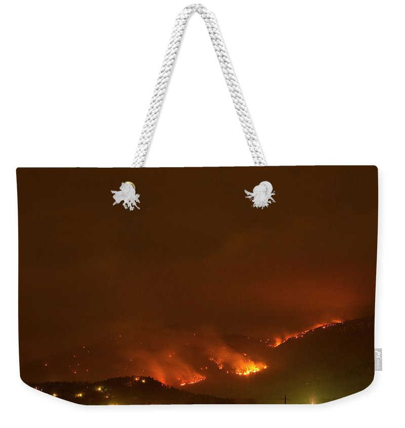 Lefthand Canyon Wildfire Weekender Tote Bag featuring the photograph Lefthand Canyon Wildfire Boulder Colorado by James BO Insogna