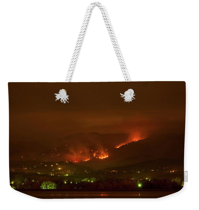Lefthand Canyon Wildfire Weekender Tote Bag featuring the photograph Lefthand Canyon Wildfire Night Time View by James BO Insogna
