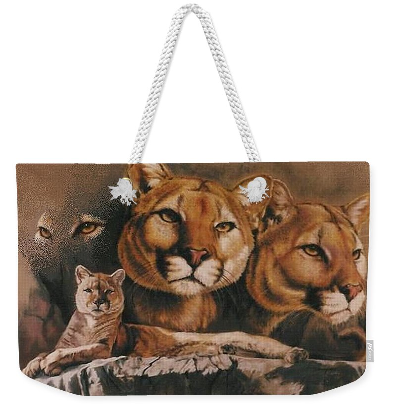 Cougar Weekender Tote Bag featuring the pastel Legend by Barbara Keith