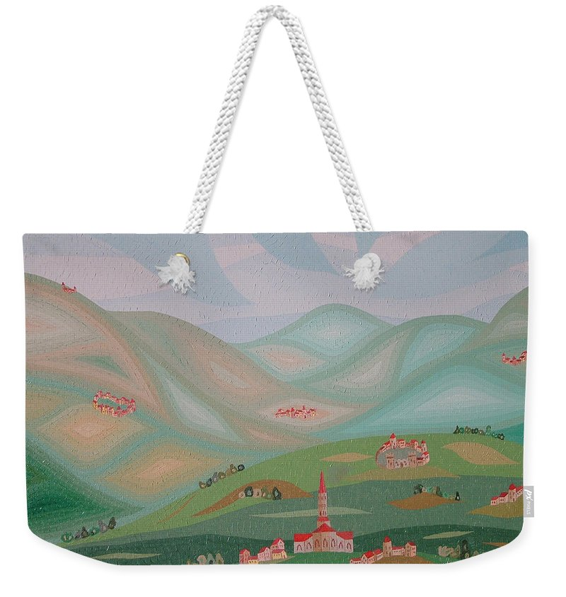 Oil Weekender Tote Bag featuring the painting Legendary Land by Peter Antos