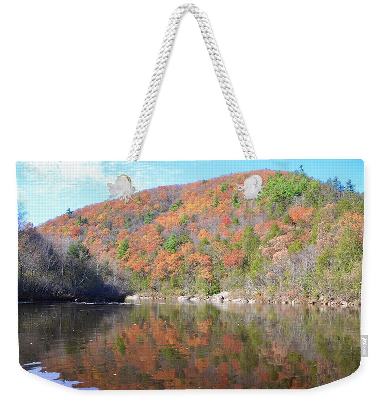 Glen Weekender Tote Bag featuring the photograph Lehigh River In Autumn by Bill Cannon
