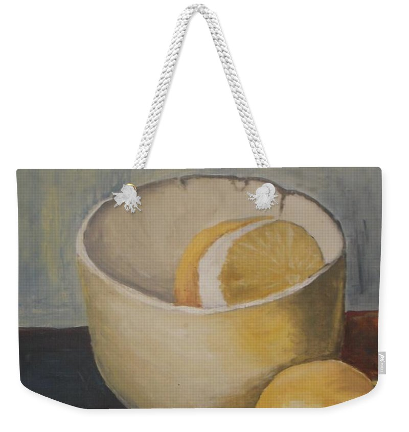Still Life Weekender Tote Bag featuring the painting Lemon In A Bowl by Vesna Antic