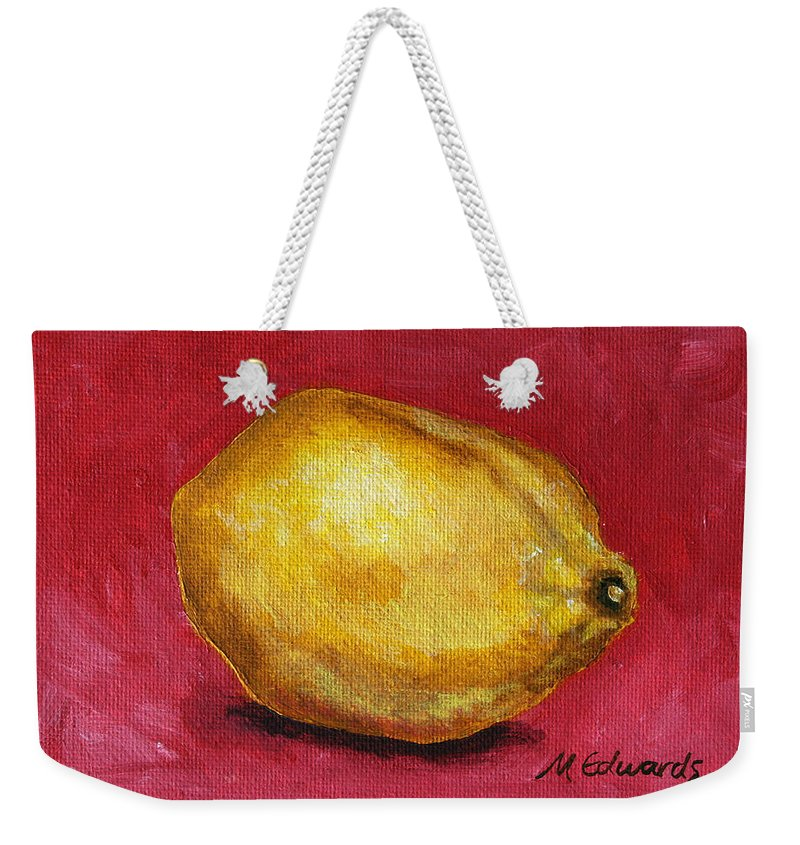 Lemon Weekender Tote Bag featuring the painting Lemon Pink by Marna Edwards Flavell