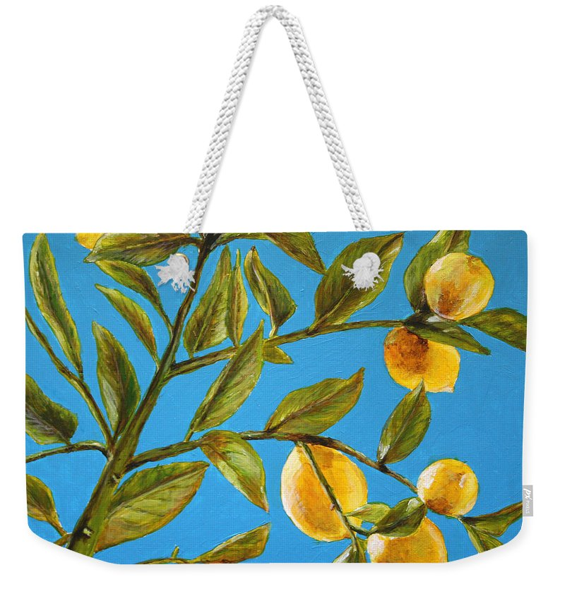 Lemons Weekender Tote Bag featuring the painting Lemon Tree by Marna Edwards Flavell