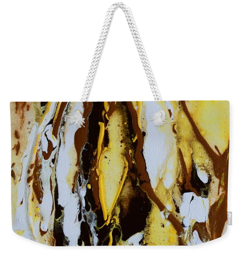 Lemons Ripples Figures Weekender Tote Bag featuring the painting Lemon Twist by Joanne Smoley