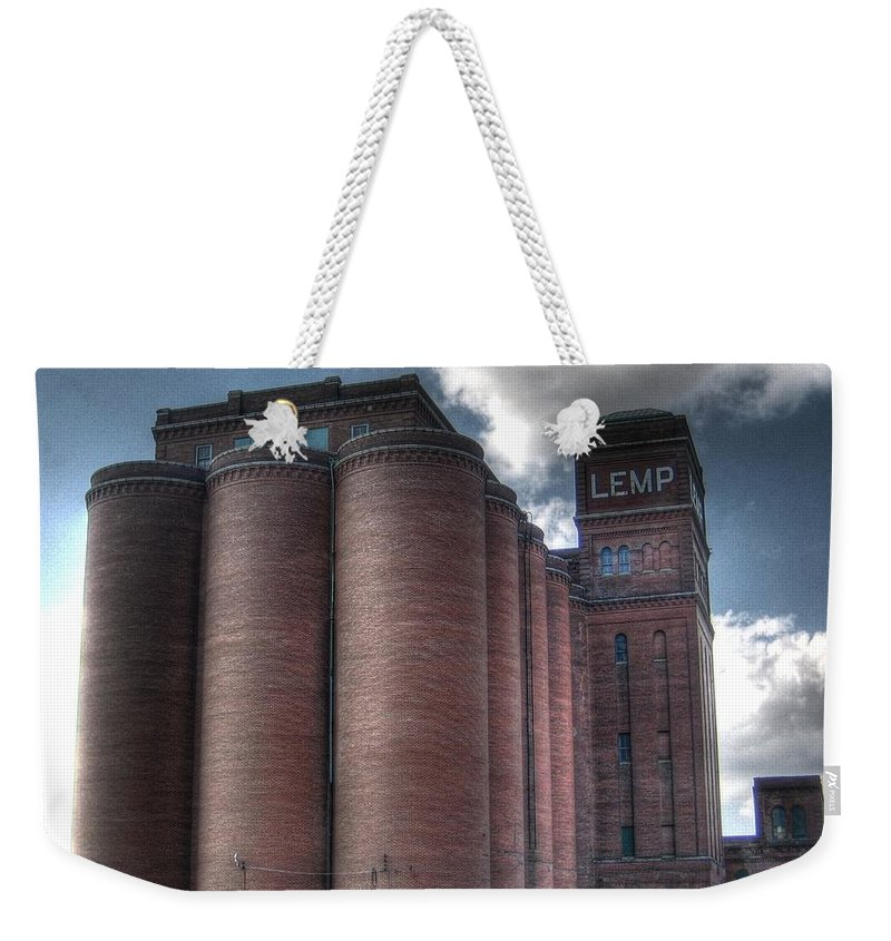 St. Louis Weekender Tote Bag featuring the photograph Lemp Brewery by Jane Linders