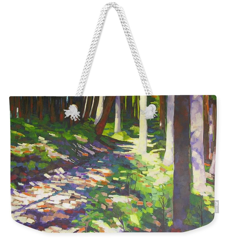 Landscape Weekender Tote Bag featuring the painting Lena Lake Trail I by Mary McInnis