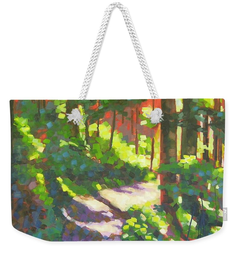 Landscape Weekender Tote Bag featuring the painting Lena Lake Trail II by Mary McInnis